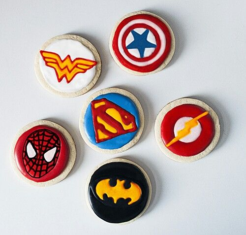 Superhero cookies! #decorated #cookie #royal #icing #marvel #dc #batman #superman #spiderman #wonderwoman #captain #america #flash #comic #superhero #symbol