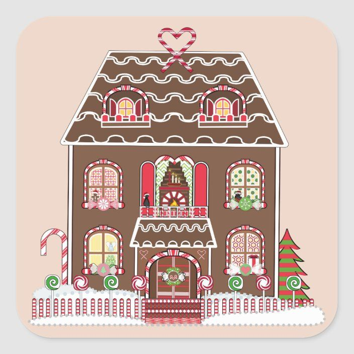 Gingerbread House Stickers Zazzle Com Gingerbread House House Doodle Christmas Gingerbread House