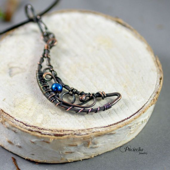Magic moon  pendant necklace by Pociecha Jewelry bohemian