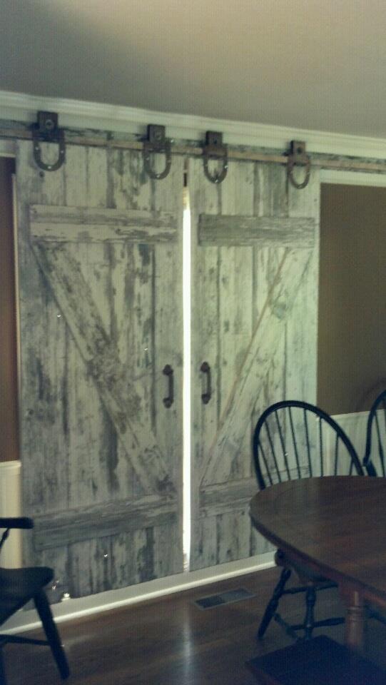 108 best images about barn wood doors on antique barn door for Barn door window covering