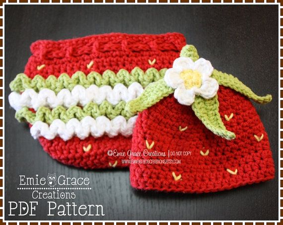 Hat and Diaper Cover Pattern SET  SWEET by EmieGraceCreations, $8.99