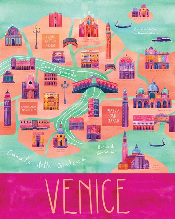 Illustration carte de Venise 24  x 30  impression par marisamidori, $150.00