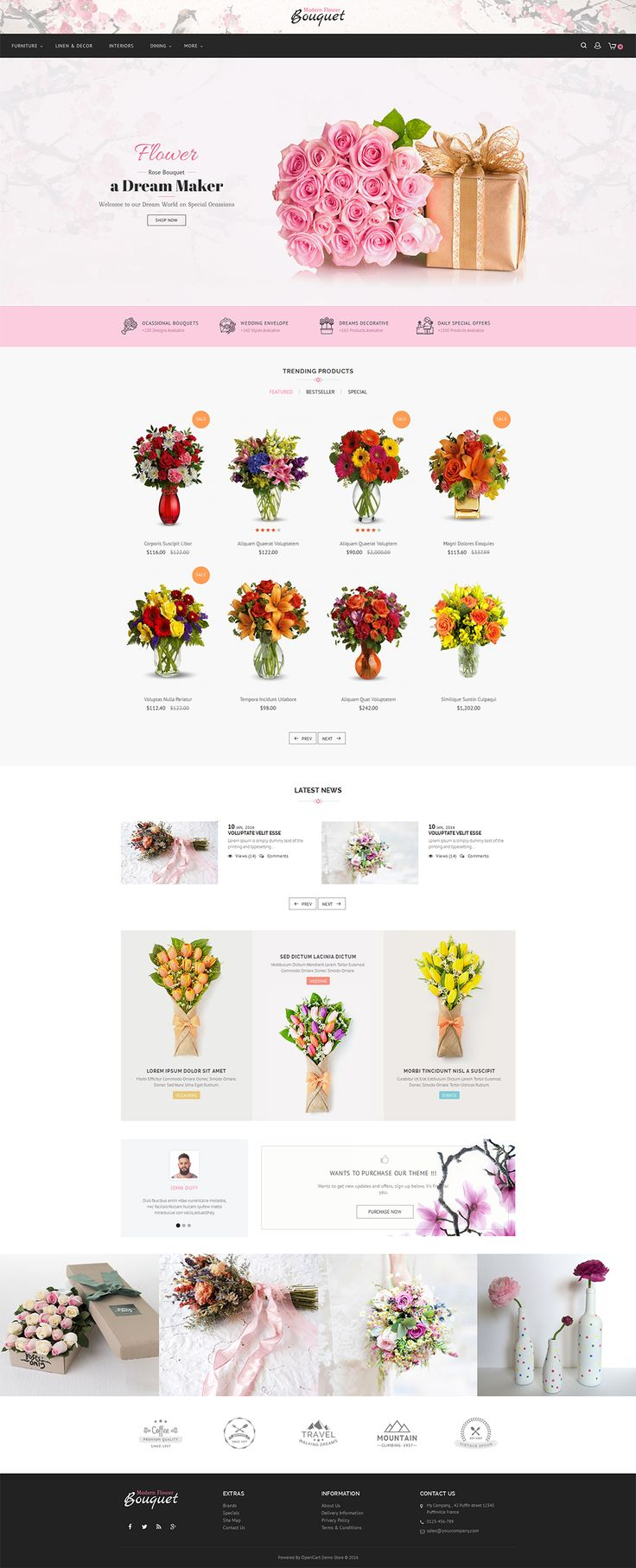 eCommerce site about flower Opencart