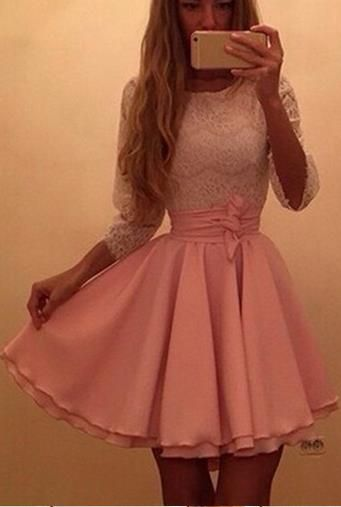 Scoop Long Sleeves Lace Patchwork Flared Pleated Short Dress                                                                                                                                                                                 More