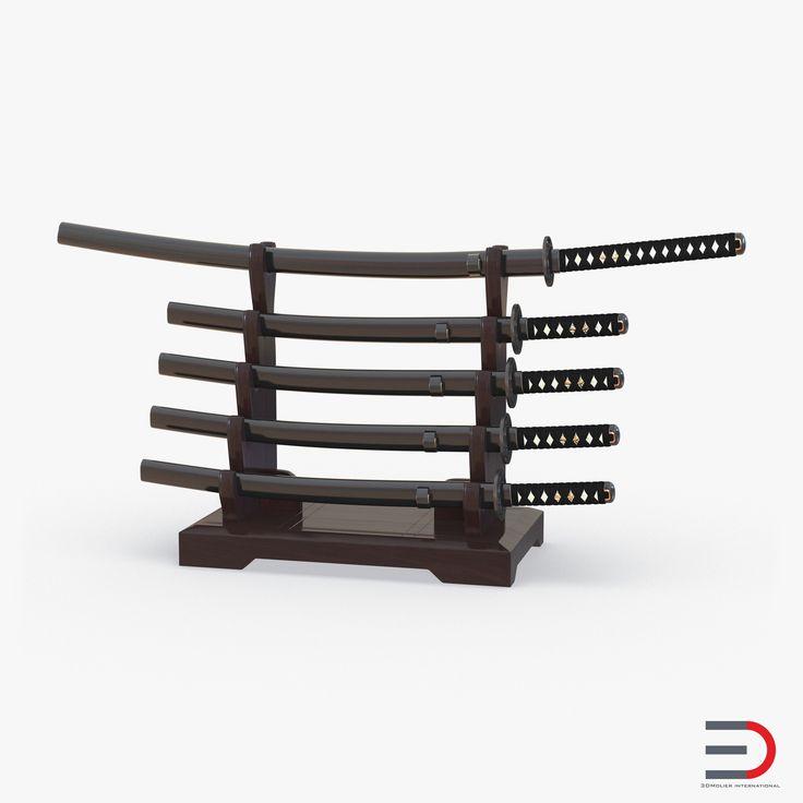 Japanese Sword Katana Display Rack Stand 5 Pcs Set