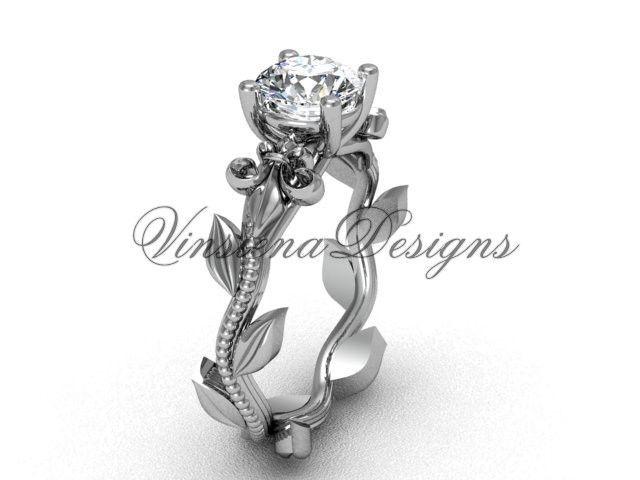 Platinum leaf and vine, Fleur de Lis engagement ring VD208223
