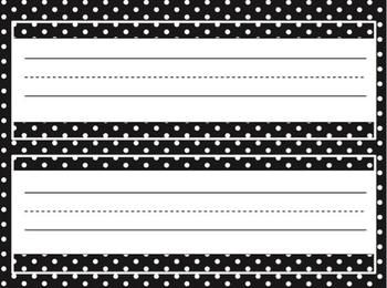 Free..These look great in black and white.  No color pinter needed. Editable Name Tags for Desks in a Variety of Polka-Dotted
