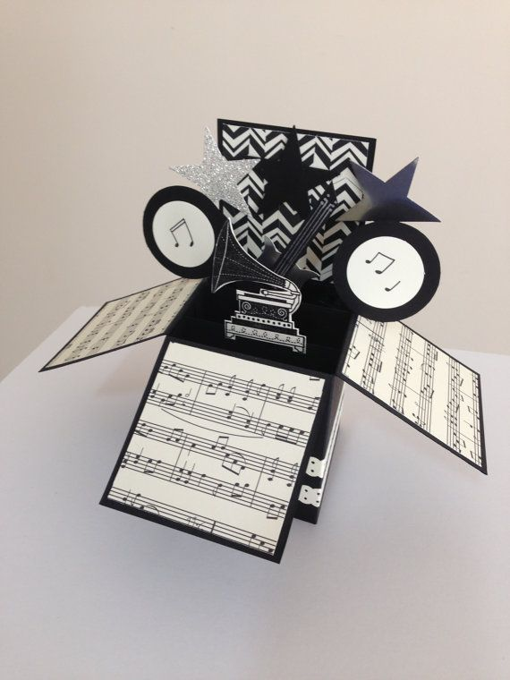 Handmade Music theme card Gramophone card by Deeshandcrafted: