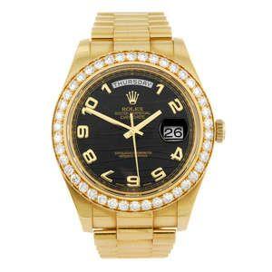 LOT:292 | ROLEX - a gentleman's 18ct gold Oyster Perpetual Day-Date II bracelet watch.