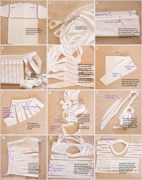 DIY t-shirt yarn tutorial: Using the whole shirt