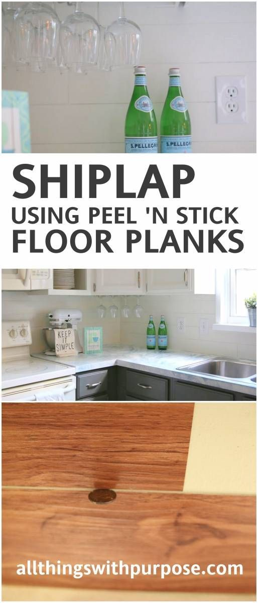 create the look of shiplap on your backsplash with peel and stick vinyl flooring!