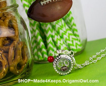 Fall is soon approaching, which means the return of football season. Bring the stadium into your home with a few sporty elements at your ONLINE/CATALOG Jewelry Bar!  Not ready to commit to hosting? No problem!  Shop online for yourself, family and friends! www.Made4Keeps.OrigamiOwl.com  Designer ID 25446