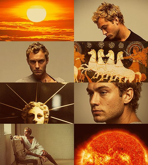 Greek Mythology Dreamcast - Jude Law as Helios As he rides in his chariot, he shines upon men and deathless gods, and piercingly he gazes with his eyes from his golden helmet. Bright rays beam dazzlingly from him, and his bright locks streaming form the temples of his head gracefully enclose his far-seen face: a rich, fine-spun garment glows upon his body and flutters in the wind: and stallions carry him. Then, when he has stayed his golden-yoked chariot and horses, he rests there upon the…