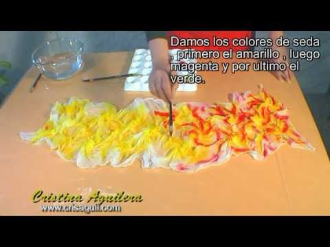 Wet on wet silk painting - crunched on flat surface. Técnica de Pintura en Seda , Silk painting - YouTube