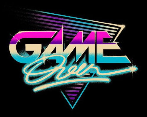 """Game Over"" logo. 80s style. By artist: verso"