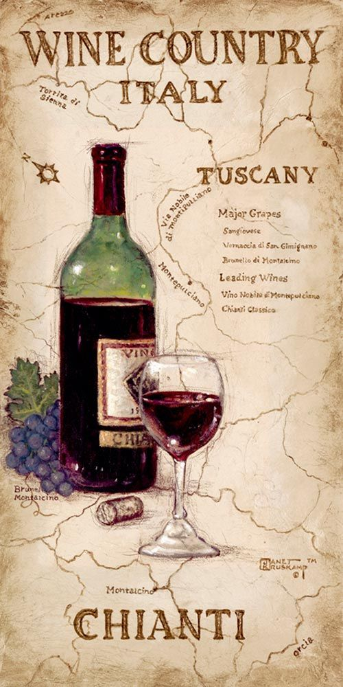 Wine Country IV, a giclee , personally enhanced and by the artist Janet Kruskamp featuring an uncorked bottle and glass of Chianti wine with a bunch of dark colored Chianti Grapes. The background is an antique looking map of the Tuscany wine country in Italy.