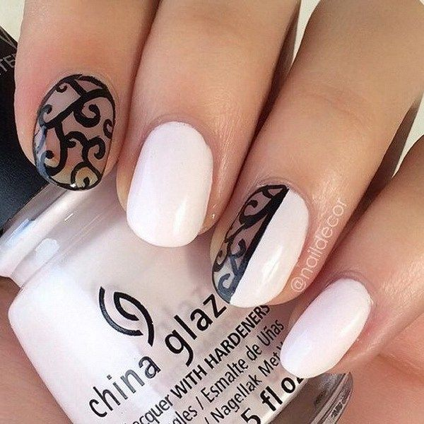 49 best white nail polish images on pinterest cat french nails part 1 30 stylish black white nail art designs prinsesfo Gallery