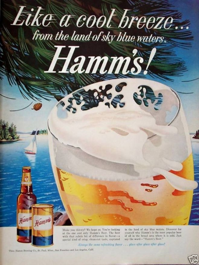 "Hamm's Beer, ""Like a cool breeze...from the land of sky blue waters."", 1959"