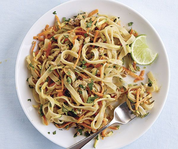 Spicy Peanut Noodles with Ground Pork and Shredded Vegetables recipe