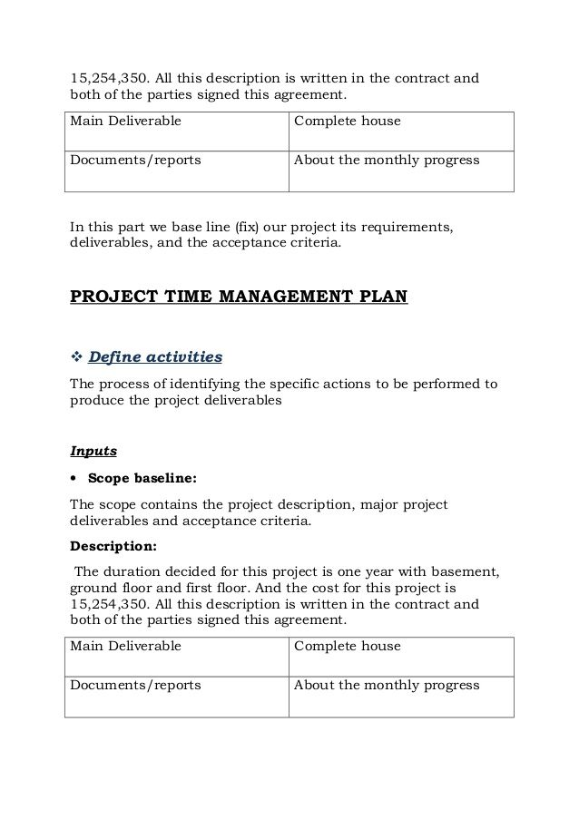 Project On Construction Of House Report Contract Template Budget Template Free Time Management Plan