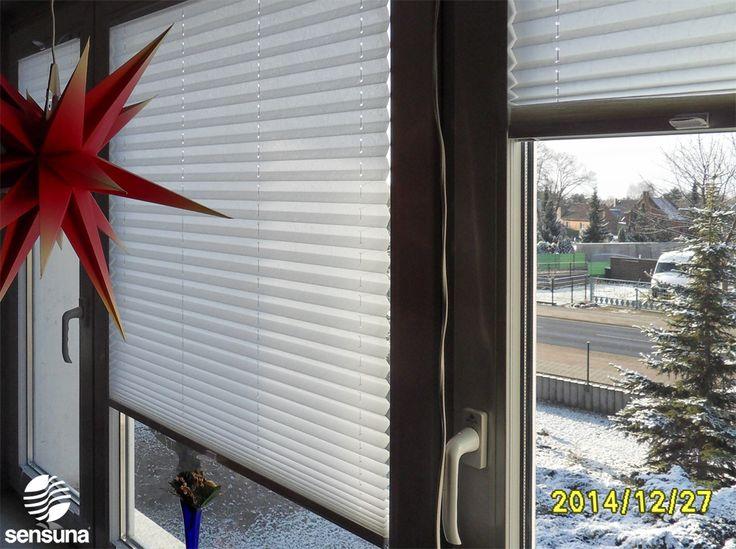 sensuna® Qualitätsplissees am Wohnzimmer Fenster - aus unserem Onlineshop - nach Maß gefertigt / sensuna® quality pleated blinds on the window of a  living room - from our onlineshop - customized
