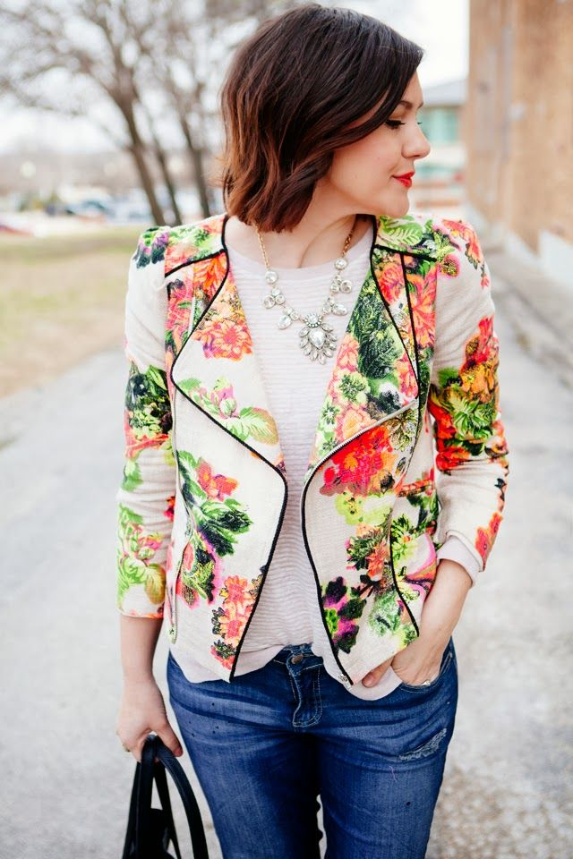 very out of my comfort zone, but love this biker jacket in floral pattern......subtle stripe + flowers + bling + denim = perfect! Kendi Everyday: Full Bloom