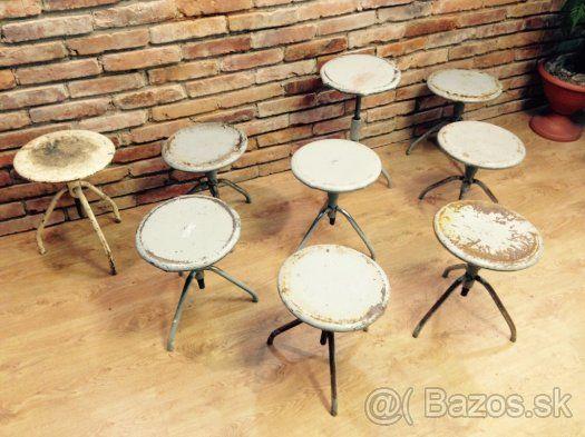 Predám industrialné stoličky kovové otáčacie. - 1