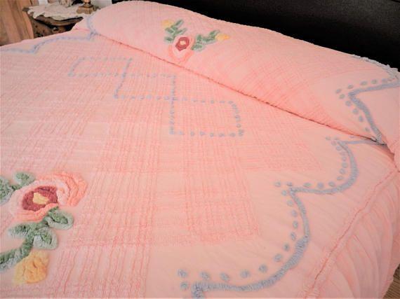 Pink Bedspread Chenille Bedspread Skirted Bedspread Blue