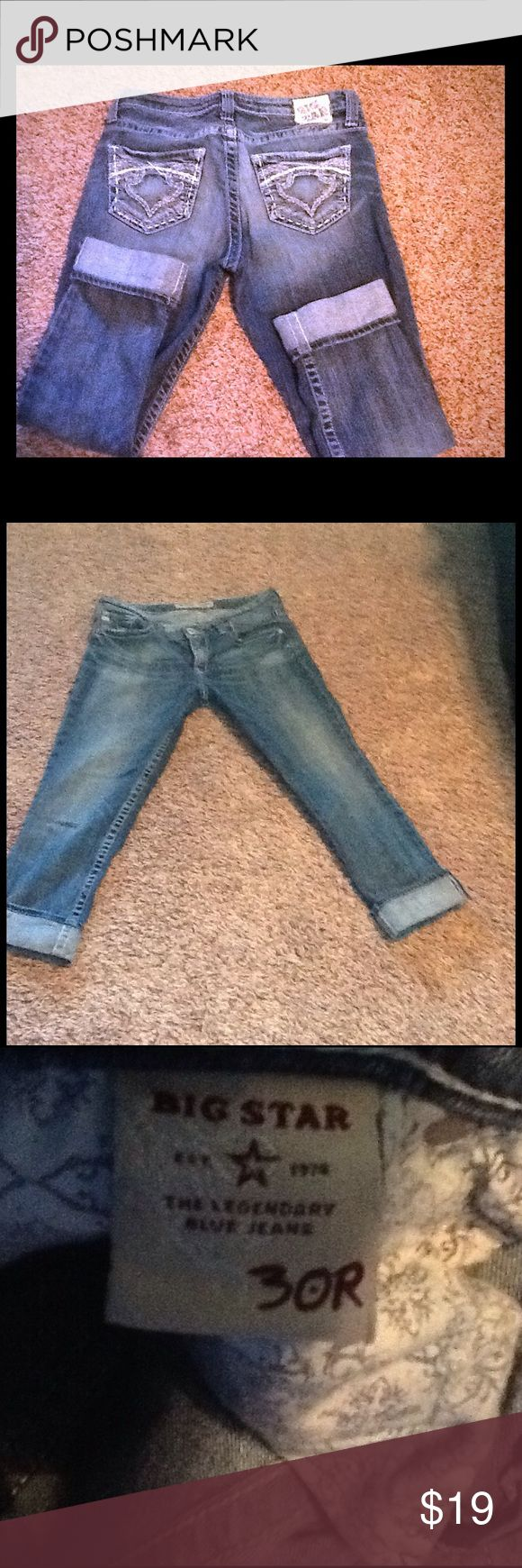 Big Star Maddie Skinny Jeans/ Capris REPOSH! Mid rise Skinny Maddie jeans that have been tailored to be capris ... Cuffs Can be let out to be jeans. Super cute and soft. Price reflects alteration. Big Star Jeans