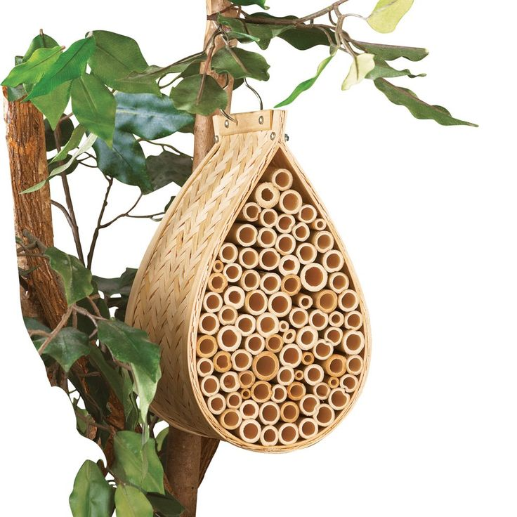 Collections etc hanging bamboo mason bee hive house beige