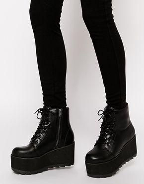 Enlarge YRU Hercules Black Flatform Ankle Boots