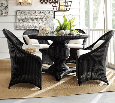 Palmetto All-Weather Wicker Round Pedestal Dining Table & Set - Black #potterybarn sun room