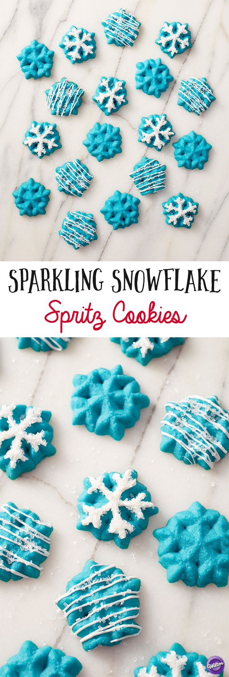 Spritz Cookies are some of the easiest cookies to make, and these Snowflake Spritz have the addition of sparkle with Wilton Blue Icing Color, Bright White Candy Melts Candy and Sparkling Sugar. Serve them anytime during the holidays and winter months when the snow is falling!