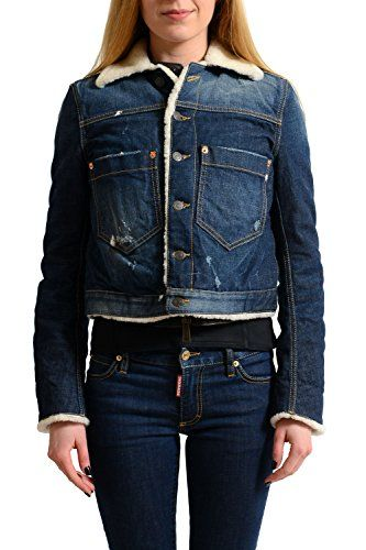 2b115233f6d51e SALE PRICE - $877.99 - Dsquared2 100% Calf Leather Distressed Denim Women's  Shearling Jacket US S IT 40
