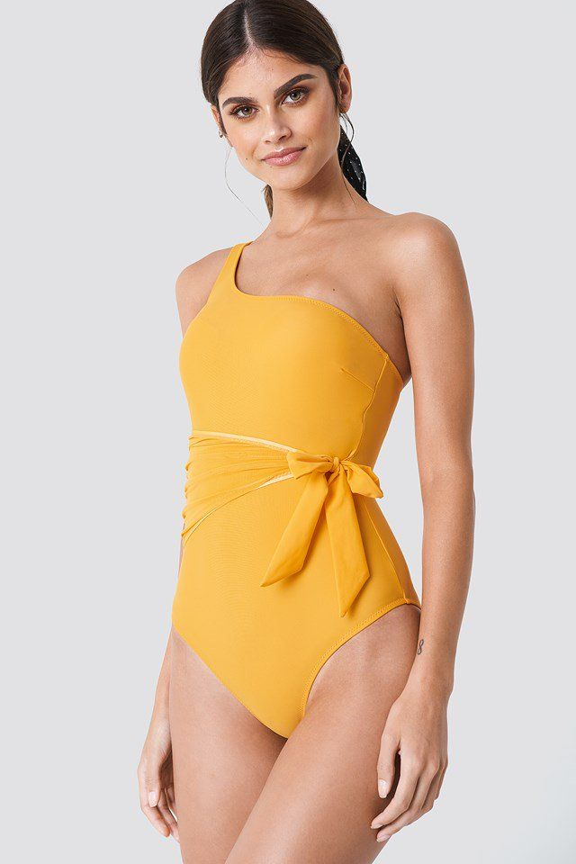 7ce12262f6013 Trendyol Waist Knot Swimsuit Apricot | Outfits | Swimsuits, One shoulder  swimsuit, Knots