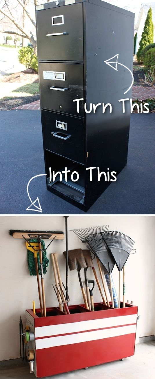 File Cabinet To Garage Storage I think just about everyone has had one of these metal file cabinets at some point– dents and all! Take out the drawers and turn that huge hunk of metal onto it's side to create garage storage space for your brooms, rakes, shovels, and much more! Even the sides have gotten a makeover with peg boards for other misc. garage items. Go check out the details here.