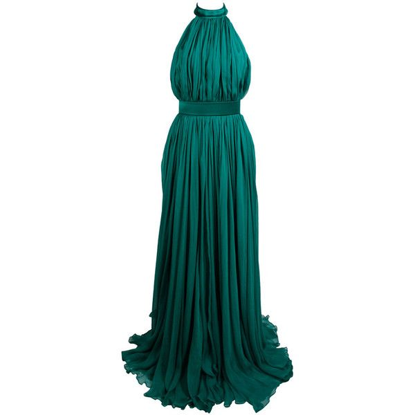 Pre-owned Alexander McQueen 2010 Flowing Emerald Green Chiffon Halter... ($3,500) ❤ liked on Polyvore featuring dresses, gowns, long dresses, vestidos, evening gowns, evening dress, blue evening gown, long halter dress, blue evening dress and halter dress