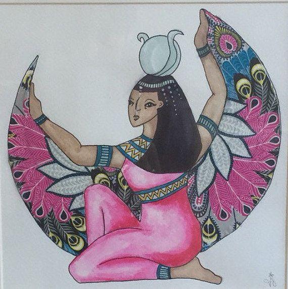 Diosa Isis Diosas Egipcias, divino femenino, rosado giclee arte impresión de pintura de técnica mixta original por Jo Stevenson   impresión de Giclee de 10 x 10  Mi tienda www.etsy.com/uk/shop/jostevensoncreative