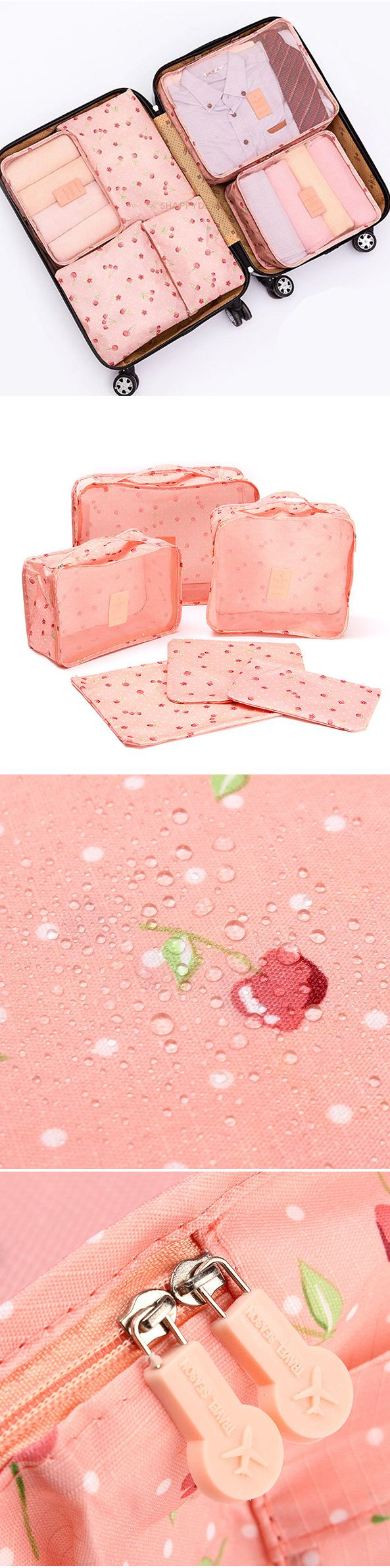 US$8.99  6Pcs Pink Cherry Waterproof Storage Bags Luggage Organizer For Travelers