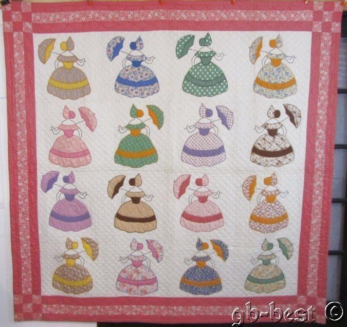 SHOW PIECE c 30s Southern Bell Applique Vintage Quilt unused Private Collection