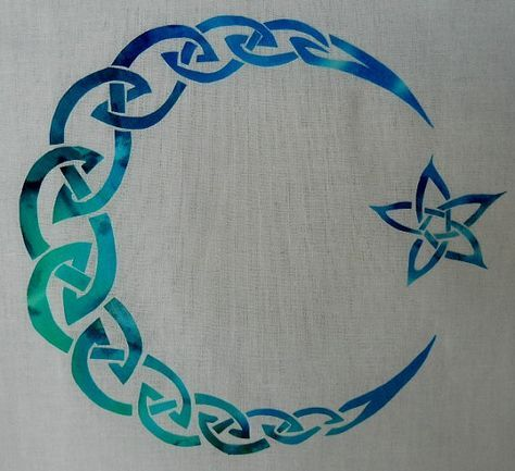 Easy Celtic Moon and Star Knot Quilt Applique Pattern Design