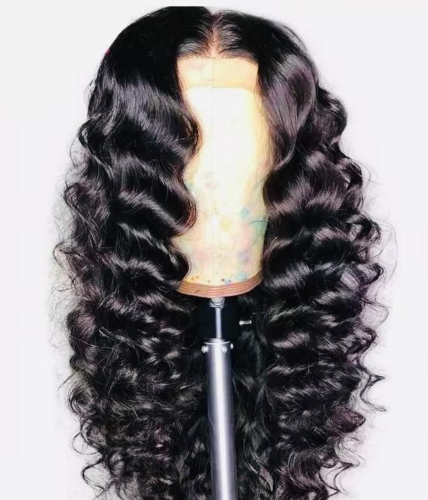 Unfastened Deep Wave Wig Brazilian Lace Entrance Human Hair Wigs Pre Plucked With Bleached Knots Virgin Hair Wigs For Black Girls 150%