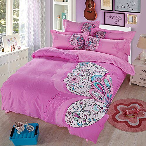 Lazzaa butterfly Bedding Queen Girls Teen Duvet Cover Set 100% Cotton 4 Pieces, Not Included Comforter //Price: $52.52 & FREE Shipping //     #bedding sets