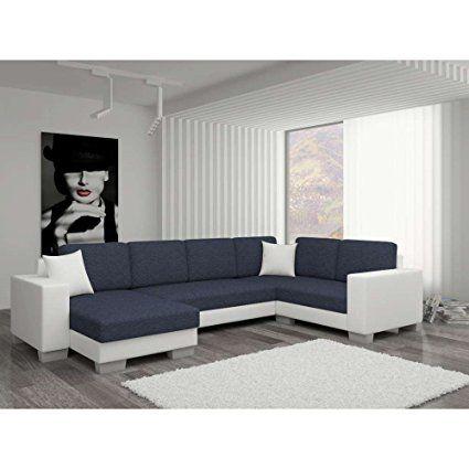 JUSThome Marco II Sofá esquinero chaise longue Sofá de esquina función de Cama Sofá-Cama Tejido estructural Piel sintética (BxLxH): 145-206x303x86 cm Negro Gris I Brazo derecho: Amazon.es: Hogar