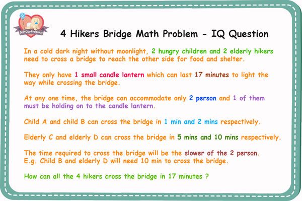 4 Hikers Bridge Math Problem Iq Question Gift Our Precious This Or That Questions Math Problems Math