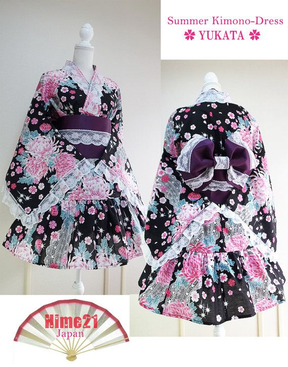 Summer Japanese Kimono Dress Jacket Yukata Flower Lace black Dress Japan Cosplay Gothic and Lolita Kimono Robe Skirt  Geisha Kawaii Japan10