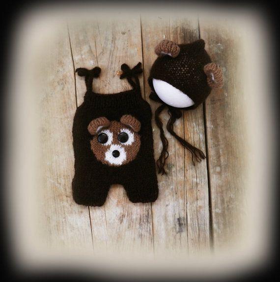 Mohair Baby Bear Romper Bonnet Set/ Newborn by GabriCollection