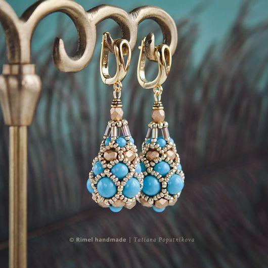 «Oriental Faberge» серьги. Жемчуг Swarovski, японский бисер. Татьяна ❀ Rimel. Ярмарка Мастеров.