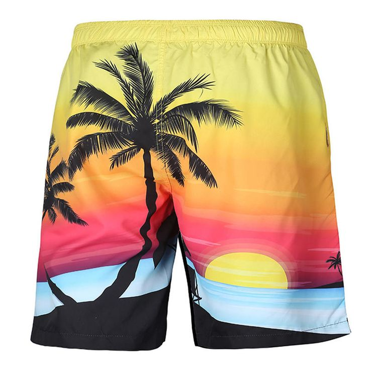 S52513 Beach Shorts Board Shorts 3D Coconut Tree Sunset Printing Fast Drying Wat…