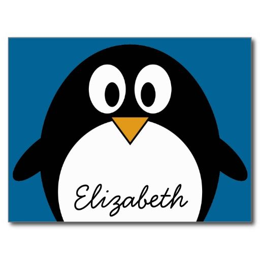 cute cartoon penguin blue background postcard